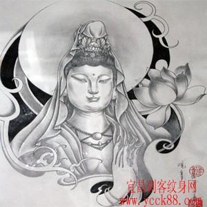 适合做大臂或者满背的莲花观音菩萨佛纹身图案图片图片