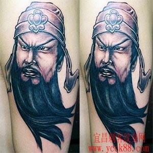 大臂关公肖像纹身图案图片大全www.ycck88.com