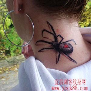 美女颈部蜘蛛纹身图案大全图片
