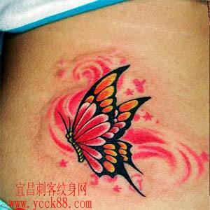 腰部红色蝴蝶纹身(tattoo)图案图片
